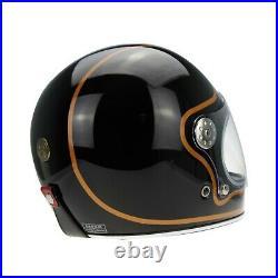 Viper F656 Retro Vintage Fibreglass Full Face Motorcycle Helmet Black/copper