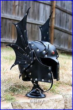 Winged Leather Warduke Helmet Fantasy Armor Helm Dragon Necromancer Sorcerer