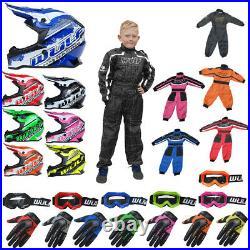 Wulfsport Kids PRO OFF ROAD Motocross Helmet Motorbike Gloves Goggles Race Suit